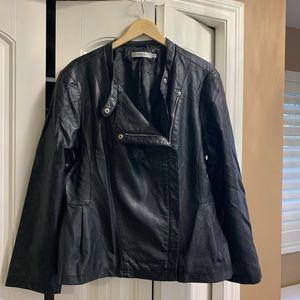 Rickis Faux Leather Peplum Hem Jacket